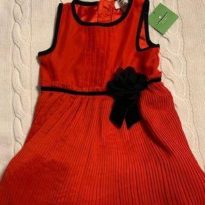 Kate Spade Pleated Chiffon Dress Red Black 4Y $128